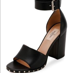 Valentino Black Leather Soul Rockstud Heels